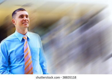 Happiness businessman on blur business architecture background