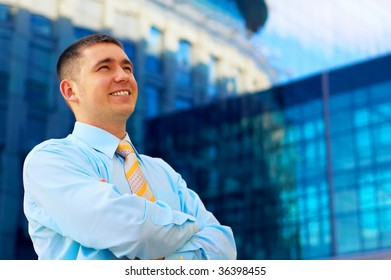 Happiness businessman on business architecture background