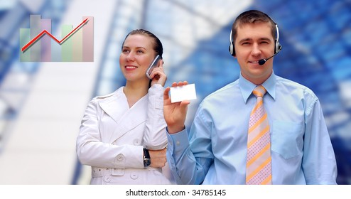 Happiness businessmens call by phone on business architecture background