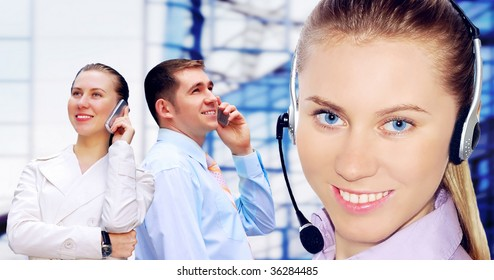 Happiness businessmens call by phone
