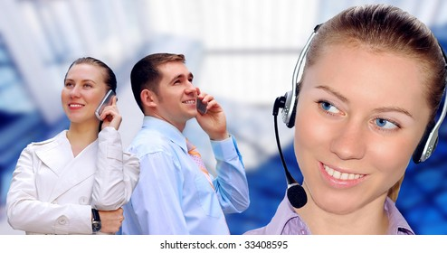 Happiness businessmens calling by phone on business architecture background