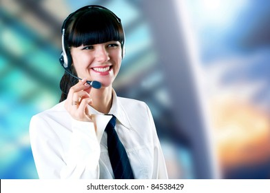 Happiness Businesswoman standing on the business background