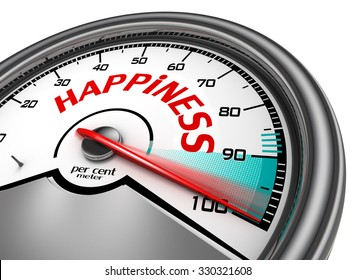 Happiness conceptual meter indicate hundred per cent, isolated on white background