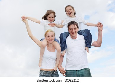 Happiness family with two children