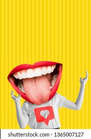 Happiness. Female body with the big mouth, red lips and white teeth as a head against yellow background. Modern design. Contemporary art collage. Concept of emotions, social media or feelings.