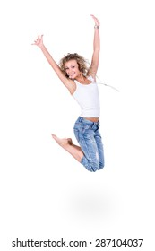 happiness, freedom, movement people, smiling young woman jumping,  isolated on white background in full length