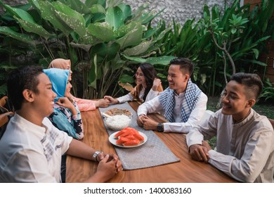 Happiness of friendship when enjoy eating iftar together in  the afternoon