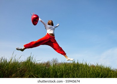 Happiness girl in jump
