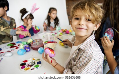Happiness group of cute and adorable children prepare for easter