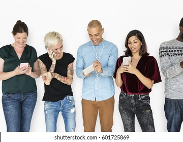Happiness group of people smiling and connected by mobile phone