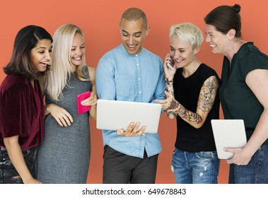 Happiness group of people smiling and connected by digital devices