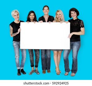 Happiness group of women holding blank banner