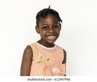 Happiness little girl smiling studio portrait