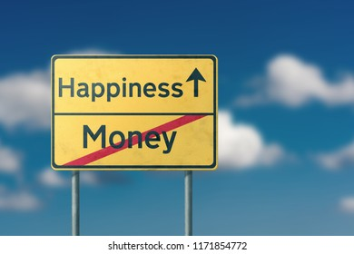 happiness money - yellow road sign