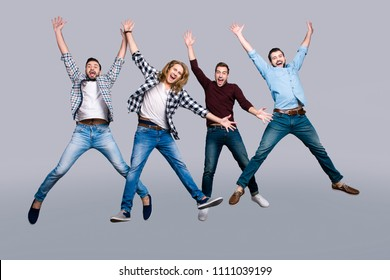 Happiness people concept. Four funny excited free fresh playful handsome screaming cheerful careless restless energetic guys jumping up in shape figure form of star isolated on gray background