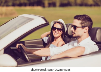 Happiness, reach destination, honeymoon, freedom, relationship, road enjoy escape, speed ride lifestyle. Side profile view of carefree cheerful romantic dreamy married well dressed couple
