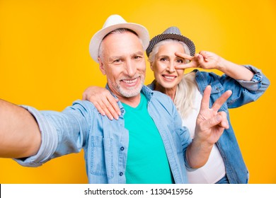Happiness rest relax lifestyle internet online travel weekend vacation journey resort concept. Close up photo portrait of cheerful lovely sweetheart person taking selfie isolated on bright background