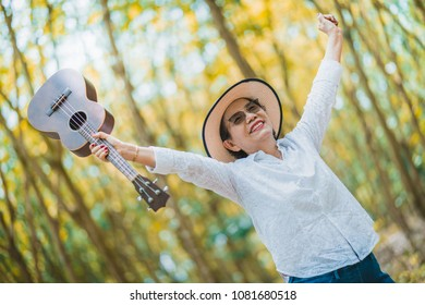 happiness retired with freedom and joyful with grandmom dance and sing a love song in garden landscape background