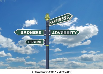 Happiness, sadness, adversity and fortune signpost.