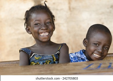 Happiness Symbol: Couple of African Children Laughing at School