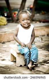 Happiness Symbol: Handsome Little African Boy Smiling Happily Expressing Positivity