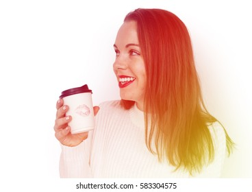 Happiness woman holding coffee cup with lipstick on it