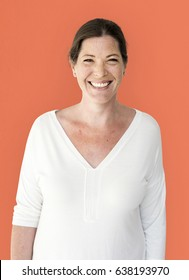 Happiness woman smiling casual studio portrait
