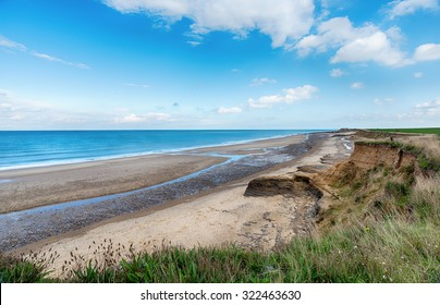 Happisburgh beach and eroding cliffs on the Norfolk coast