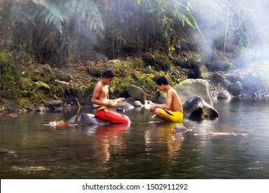 Happt boys playing together at Bogor West Java Indonesia. 04 08 2019