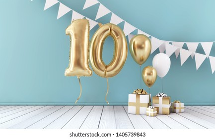 Happy 10th birthday party celebration balloon, bunting and gift box. 3D Render