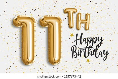 Happy 11th birthday gold foil balloon greeting background. 11 years anniversary logo template- 11th celebrating with confetti. Photo stock.