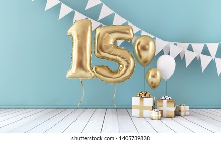 Happy 15th birthday party celebration balloon, bunting and gift box. 3D Render