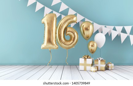 Happy 16th birthday party celebration balloon, bunting and gift box. 3D Render