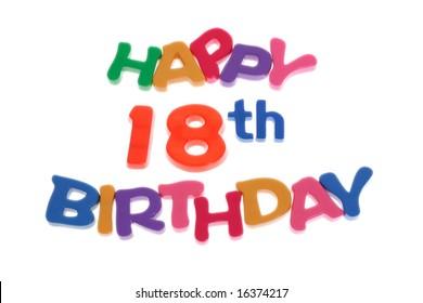 """Happy 18th Birthday"" letter blocks arranged on white background"