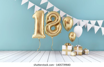 Happy 18th birthday party celebration balloon, bunting and gift box. 3D Render