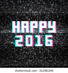 Happy 2016 technology greeting card on noisy TV background