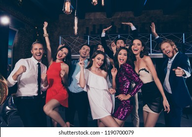 Happy 2019! Beautiful attractive pretty glamorous gorgeous magnificent charming glad ecstatic ladies and handsome gentlemen, cocktail party, chill out at fashionable night club
