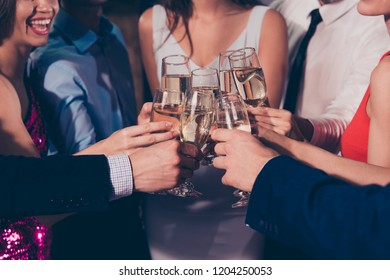 Happy 2019! Cropped close-up of nice attractive beautiful charming slim glam winsome stylish trendy cheerful ladies and rich gentlemen, chill out at fasionable night club, gathering
