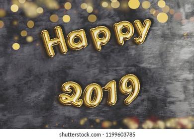 happy 2019 text in golden balloon