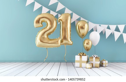 Happy 21st birthday party celebration balloon, bunting and gift box. 3D Render