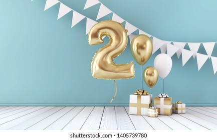 Happy 2nd birthday party celebration balloon, bunting and gift box. 3D Render