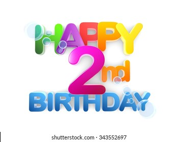 2nd birthday stock images royalty free images vectors happy 2nd birthday title in big letters light bookmarktalkfo Gallery