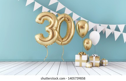 Happy 30th birthday party celebration balloon, bunting and gift box. 3D Render