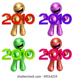 Happy 3d icon with 2010 new year sign colorful set