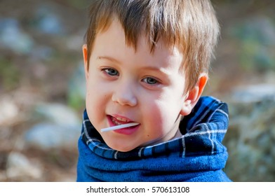 A happy 4 year old blue-eyed Caucasian boy saying something with a lollipop candy stick in his mouth. Happy childhood image. Positive child sharing with parents