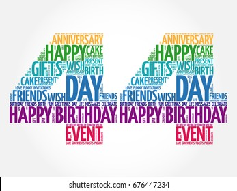 Happy 44th birthday word cloud collage concept