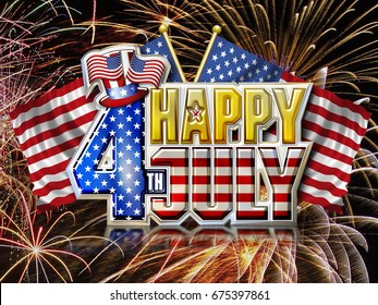 Happy 4th July Chrome effect Graphic with Uncle Sams' Hat and Stars and Stripes flags on fireworks background.