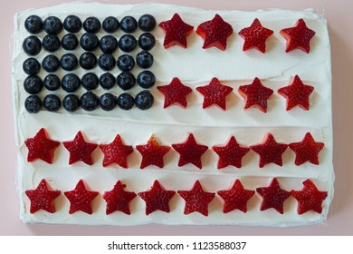 Happy 4th of July conceptual image with homemade cake that looks like American flag.