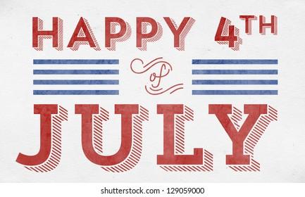 Happy 4th of July - Typographic Element