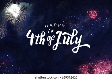 Happy 4th of July Typography Over Fireworks Sky Background